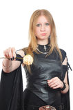 Nice Gothic Girl With Dry Rose In Hand Royalty Free Stock Photo