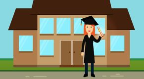 A nice graduate girl in academic clothes: a hat with a tassel and a mantle, holds a roll with a diploma in her hands. Academic regalia. Ceremonial clothes Royalty Free Stock Photo