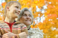 Nice grandmother with boy Stock Images