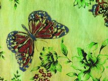Beautiful fabric with butterfly Royalty Free Stock Photography