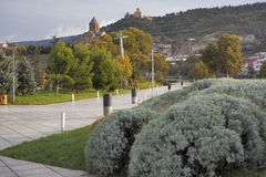 The nice green park lies on the bank of Kura river and offers many attractions to the tourists and locals, Stock Photos