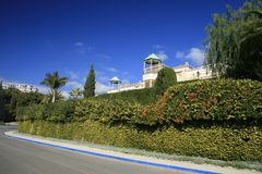 Nice green wall in Nerja stock photo