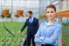 Nice greenhouse owners controlling their business Royalty Free Stock Photo