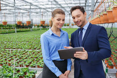 Nice greenhouse owners controlling their business Royalty Free Stock Image