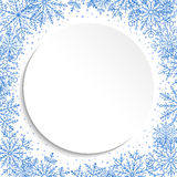 Nice Greeting Card. Nice frame with arabesques and snowflakes. Fine greeting card. Blue and white colors Stock Image