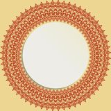 Nice Greeting Card. Round frame with floral elements and arabesques. Pattern with arabesques. Fine greeting card Stock Photo
