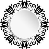 Nice Greeting Card. Round frame with floral elements and arabesques. Pattern with arabesques. Fine greeting card Royalty Free Stock Photography
