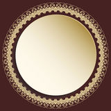 Nice Greeting Card. Round golden frame with floral elements and arabesques. Pattern with arabesques. Fine greeting card Royalty Free Stock Image