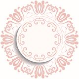 Nice Greeting Card. Round pink ornament with floral elements and arabesques. Pattern with arabesques. Fine greeting card Royalty Free Stock Photography