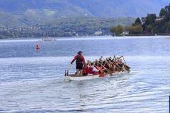Nice group of people sprawled kayak on Lac Leman Stock Photos