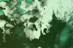 Abstract vintage teal, sea-green randomly painted canvas, fabric with color paint spots and blots texture for use as background. Nice grunge teal, sea-green stock photography