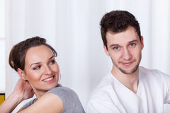 Nice guy and beautiful woman Stock Photos