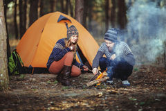 Nice guy and a girl together outdoors Royalty Free Stock Photos