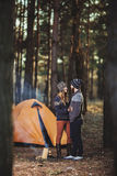 Nice guy and a girl together outdoors Stock Images