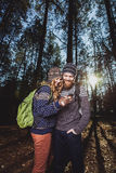 Nice guy and a girl together outdoors Royalty Free Stock Images