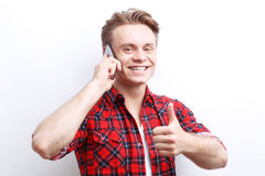 Nice guy talking on the mobile phone Stock Photo