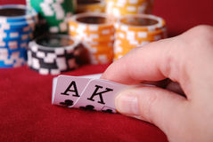 Nice hand. Close up of a nice hand in poker Royalty Free Stock Image