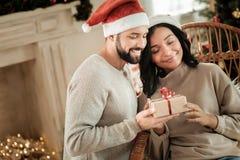 Nice happy couple celebrating Christmas royalty free stock image