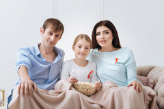 Nice happy family watching TV. Being informed. Nice happy good looking family watching TV and eating popcorn while wearing red ribbons Royalty Free Stock Images