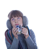 Nice Happy Teen girl. With a big cup of tea Royalty Free Stock Photo