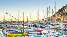 Nice Harbor in France. Beautiful morning at the Nice Harbor in France Royalty Free Stock Images