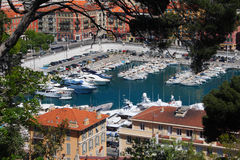 Nice Harbour, South of France. An elevated view of Nice Harbour on the French Riviera Royalty Free Stock Image