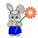 Nice hare with flower Royalty Free Stock Photo