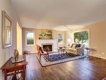 Nice harwood living room with decor. Royalty Free Stock Photo