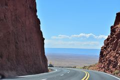 Nice highway in arizona. Arizona is a southwestern U.S. state. is best know the Grand Canyon, Lake Powell, Horseshoe Bend, Flagstaff, Page, National Park Royalty Free Stock Photo