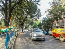 Nice holiday street. Kolkata, West Bengal, India- December 17, 2017: Picture of a street in Kolkata Royalty Free Stock Photo