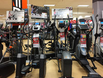 Nice home gym machines for sale at store Stock Images