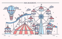 Nice horizontal banner of amusement park. Circus, ferris wheel, attractions  Royalty Free Stock Photo