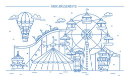 Nice horizontal banner of amusement park. Circus, ferris wheel, attractions, side view with aerostat in air. Monochrome Stock Photos