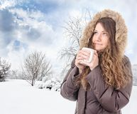 Nice hot drink on a cold Stock Photos