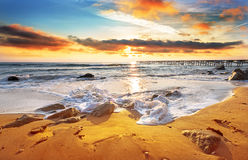 Nice hot sunset. Over sea Stock Images