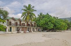 Nice hotel on the beach with white sand and a lot of greenery. Beau Vallon, Seychelles Stock Photos