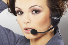 Nice hotline operator royalty free stock photography