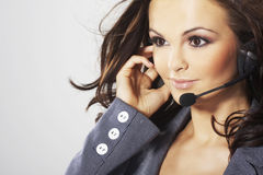 Nice hotline operator Royalty Free Stock Images