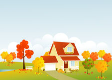 Nice house. In autumn landscape Stock Photo