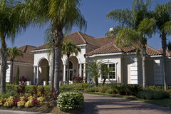 Nice House. With paver driveway and palm trees Royalty Free Stock Image