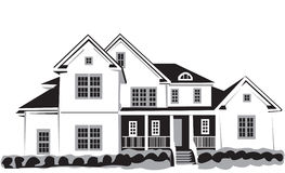 Nice house. Black&white Vector Illustration of nice house  isolated on white background Stock Photos