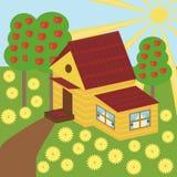 Nice house and garden. Nice house and apple garden Royalty Free Stock Photos