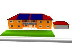 Nice house in a residential park. House achievement in a residential park Stock Photo
