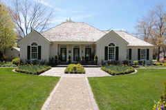 Nice house with symmetrical landscaping royalty free stock photos