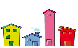 Nice houses. Four cute color houses for sale Royalty Free Stock Photography