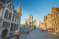 Nice houses in the old town of Ghent Royalty Free Stock Photos