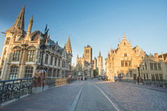 Nice houses in the old town of Ghent Royalty Free Stock Photo