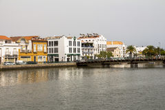 Nice houses on river in a portugese town, Algarve stock photography