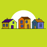 Nice Houses set with yellow background.  Stock Photo