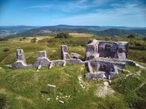Nice Hungarian castle ruins from a Csobanc hill, near the Lake Balaton. Aerial drone picture royalty free stock photography